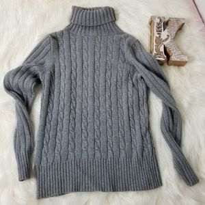 J CREW Gray Cable knit Turtleneck Sweater M -H5